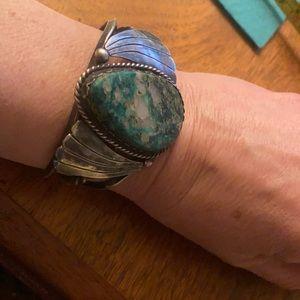 S s amazonite stone Navajo vintage bracelet